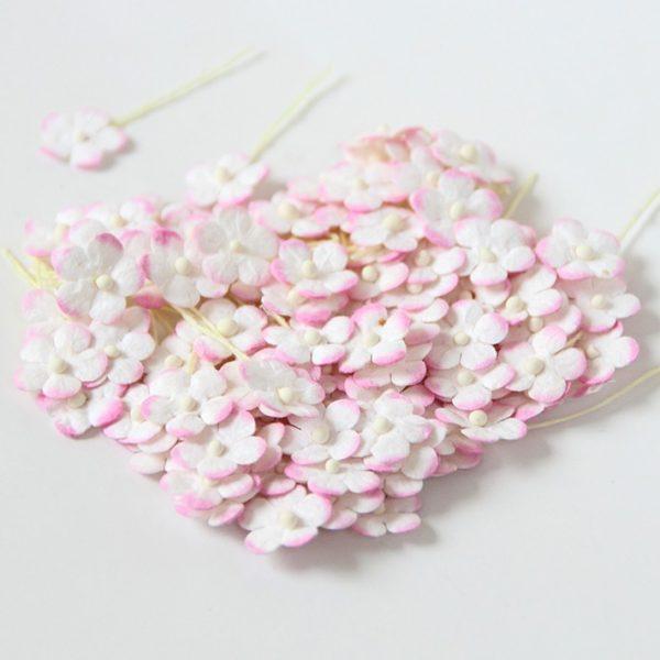 Цветочки маленькие розовый+белый
