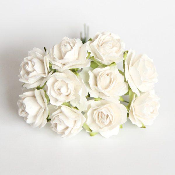 Кудрявые розы 2 см - Белые