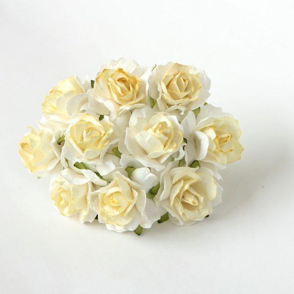 Кудрявые розы 3 см - Белый+св.желтый