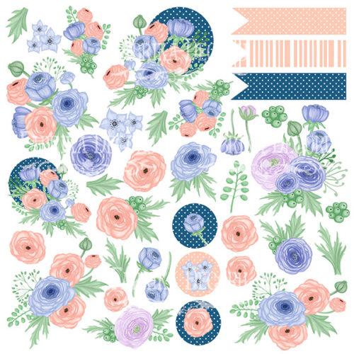 Лист с картинками для вырезания Цветочное настроение