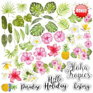 Лист скрапбумаги Tropical paradise, 20 Х 20 см, Фабрика Декору 12