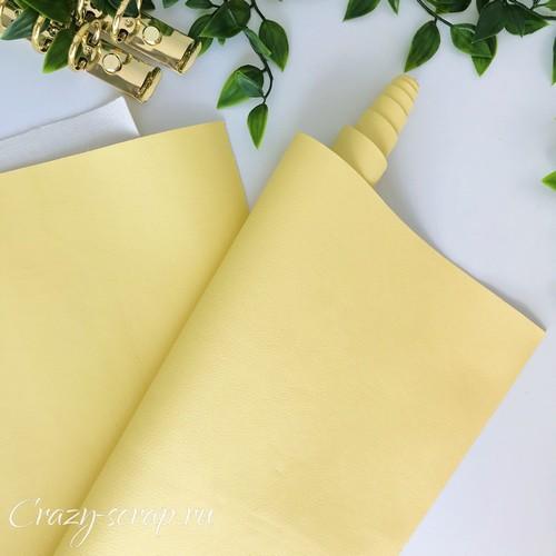 Искусственная кожа на тканевой основе, цвет желтый, 33х70 см