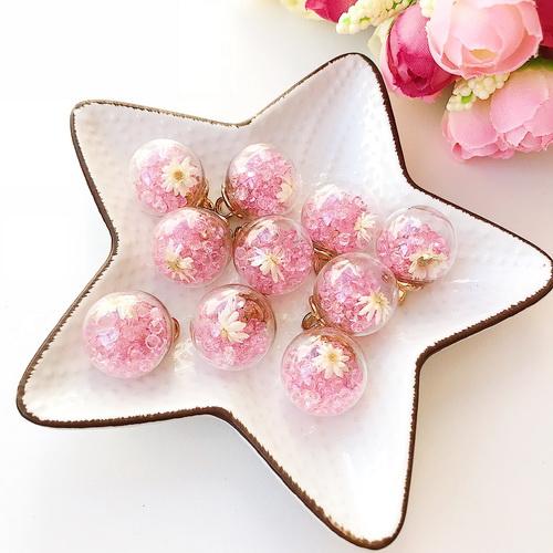 Подвеска «Шар» розовый с цветочком  17 мм, 1 шт